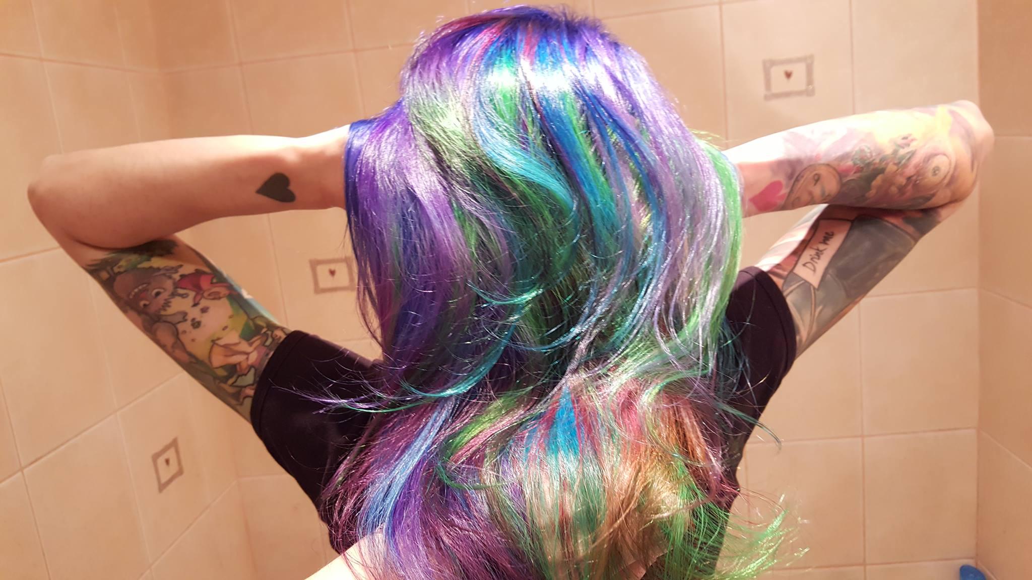 kolorowe włosy - tęcza