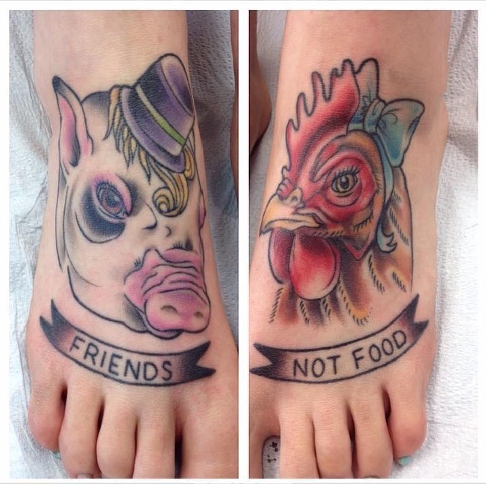 wegańskie tatuaże z napisami