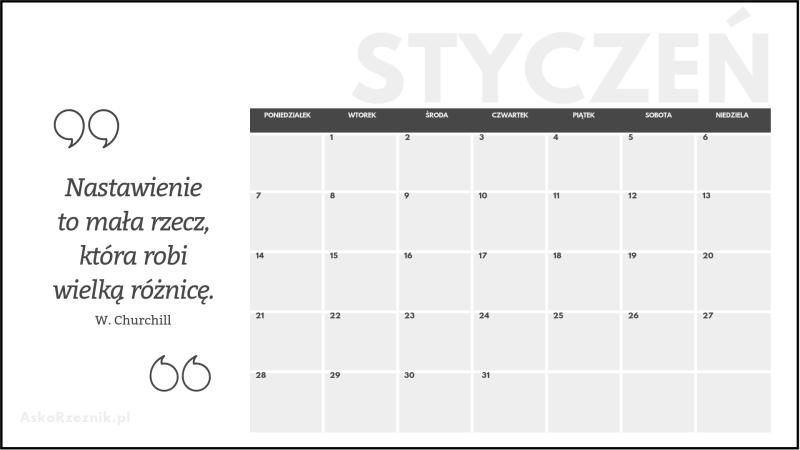 Kalendarz Na Styczeń 2019 Do Wydruku Aśka Rzeźnik Wcześniej
