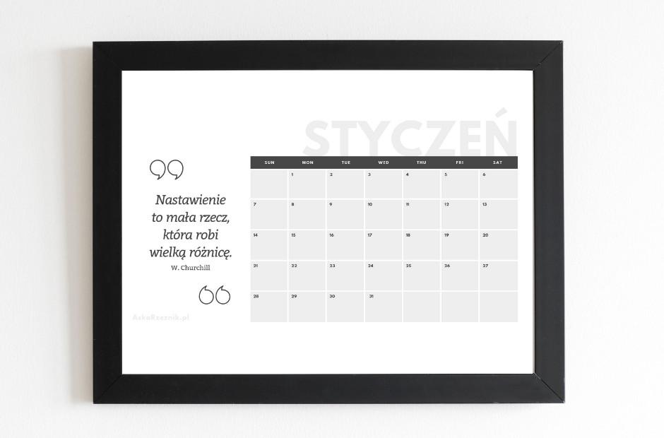 kalendarz na styczeń 2019 do wydruku
