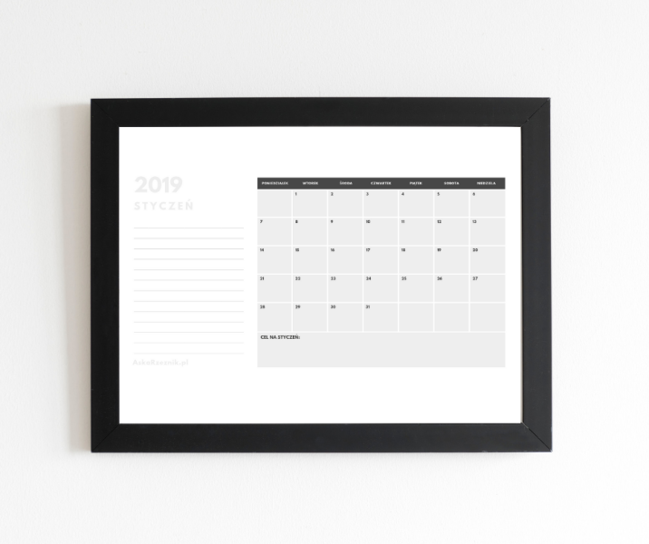 kalendarz na styczeń 2019 do wydrukowania za darmo