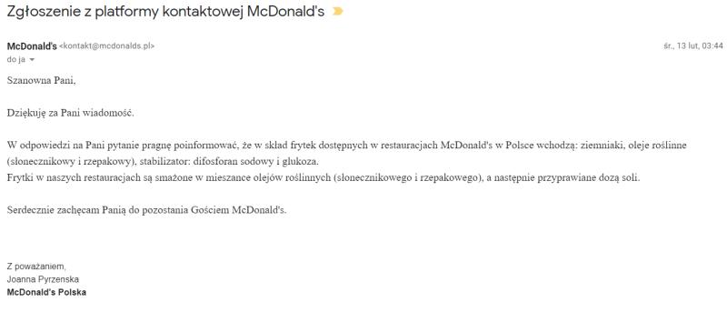 czy frytki w mcdonalds są wegańskie? skład