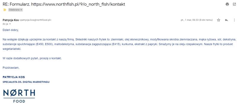 czy frytki w north fish są wegańskie?