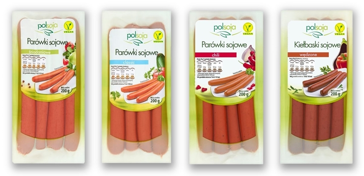 wegańskie produkty jak mięso - parówki sojowe Polsoja