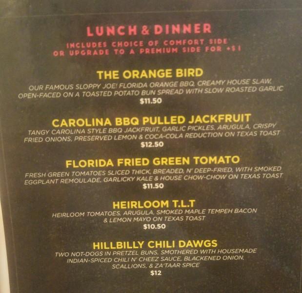 wegański obiad - menu
